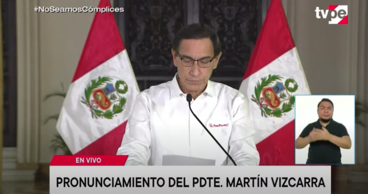 Presidente Martín Vizcarra pidió disculpas al país por la difusión de audios, niega delito y no revela qué lideres políticos supuestamente le pidieron la postergación de las elecciones generales