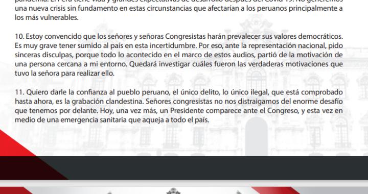 """Vacancia presidencial: Martín Vizcarra """"""""es muy grave tener sumido al país en esta incertidumbre"""" """"invocó a los valores democráticos de los parlamentarios"""" """"Quiero darle confianza al pueblo peruano"""""""